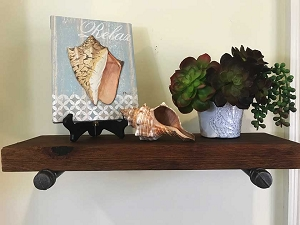 Rustic Wood and Metal Pipe Shelf