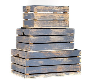 Handmade Rustic Distressed Grey Wood Crates, Nested Set of 3