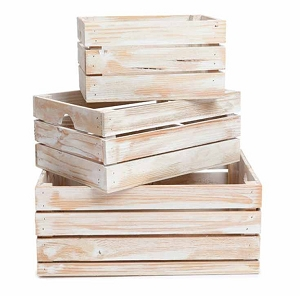 Handmade Rustic White-Washed Wood Crates, Nested Set of 3