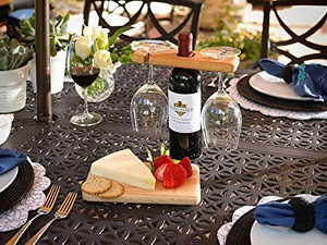 Handmade Wood Wine & Cheese Serving Set