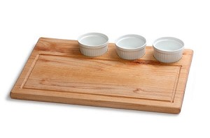 Wood Cutting & Serving Board with 3 Porcelain Ramekins